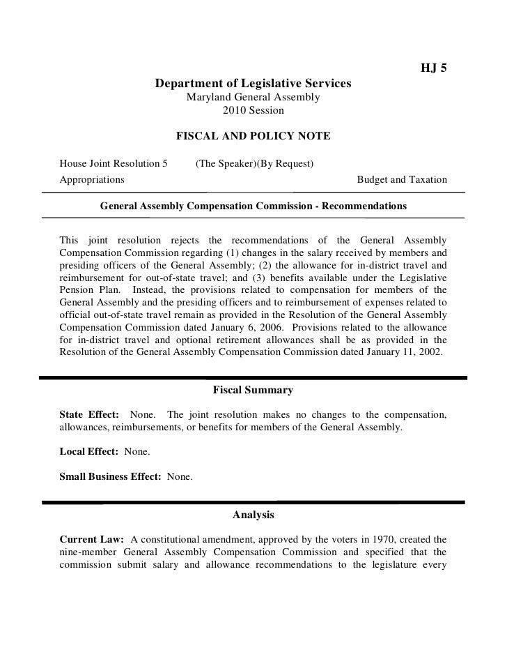 HJ 5                       Department of Legislative Services                              Maryland General Assembly      ...