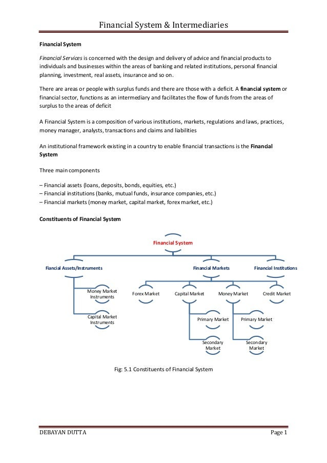Financial System & Intermediaries DEBAYAN DUTTA Page 1 Financial System Financial Services is concerned with the design an...