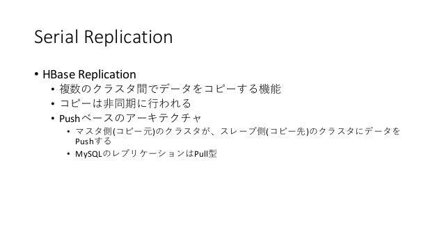 Serial Replication • HBase Replication • • • Push • ( ) ( ) Push • MySQL Pull