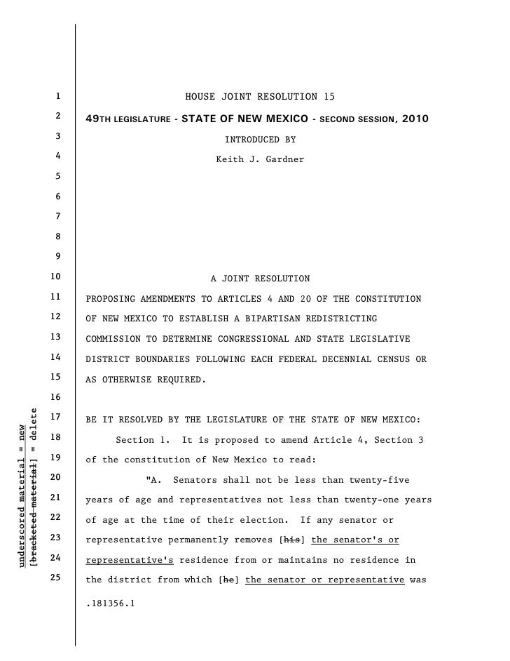 1                        HOUSE JOINT RESOLUTION 15                                 2    49TH LEGISLATURE - STATE OF NEW ME...