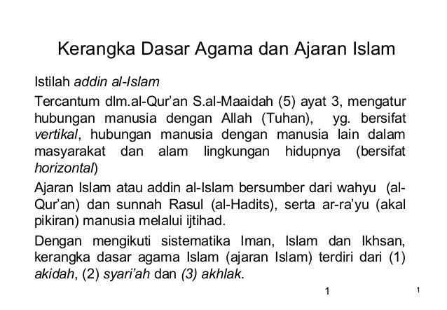 Kerangka Dasar Agama dan Ajaran IslamIstilah addin al-IslamTercantum dlm.al-Qur'an S.al-Maaidah (5) ayat 3, mengaturhubung...