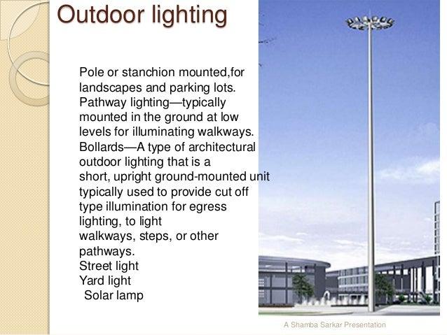types of lighting fixtures. A Shamba Sarkar Presentation; 64. Outdoor Lighting Types Of Fixtures