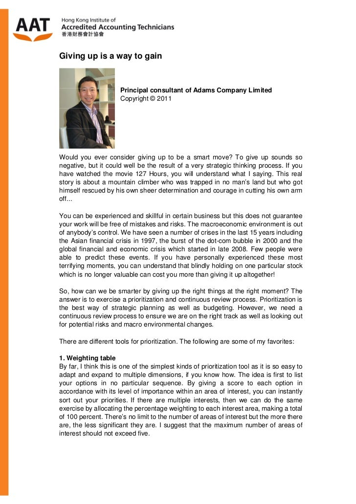 Giving up is a way to gain                       Principal consultant of Adams Company Limited                       Copyr...