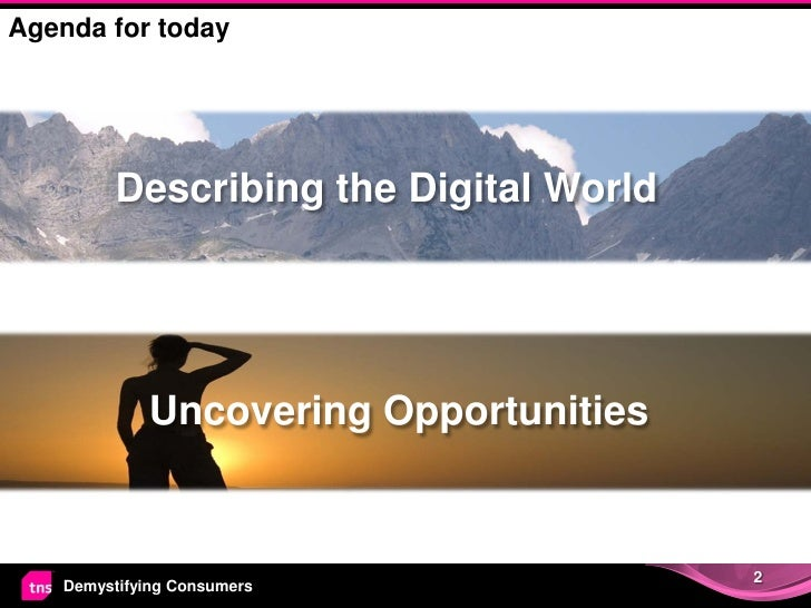 Agenda for today         Describing the Digital World            Uncovering Opportunities                                 ...