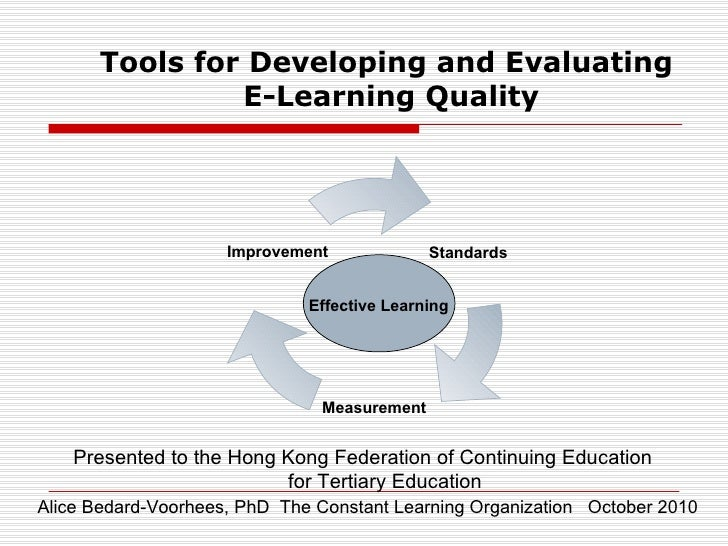 Effective Learning Tools for Developing and Evaluating  E-Learning Quality Alice Bedard-Voorhees, PhD  The Constant Learni...