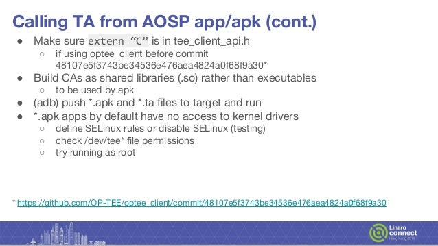 HKG18-119 - Overview of integrating OP-TEE into HiKey620 AOSP