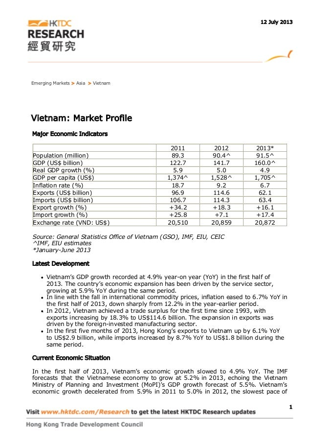 Emerging Markets > Asia > Vietnam Vietnam: Market Profile Major Economic Indicators 2011 2012 2013* Population (million) 8...
