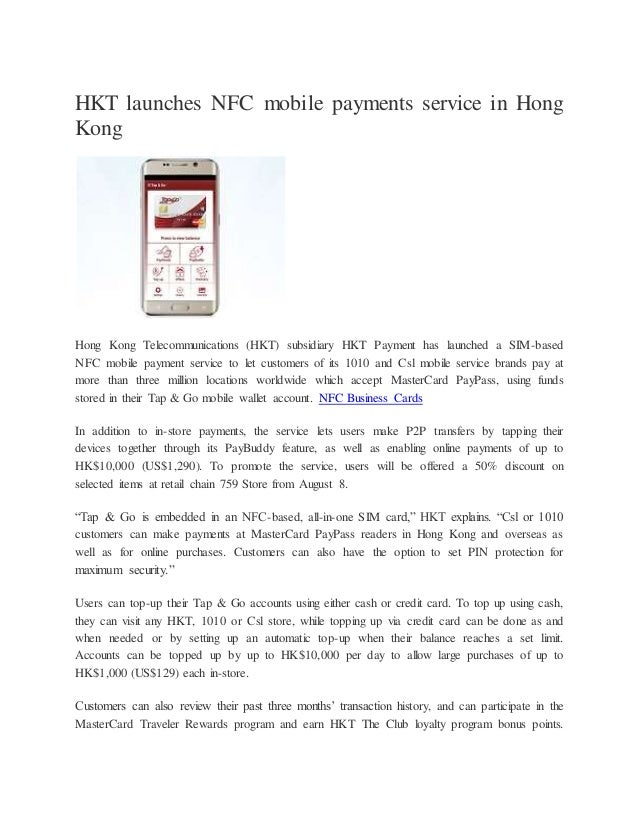 Hkt launches nfc mobile payments service in hong kong
