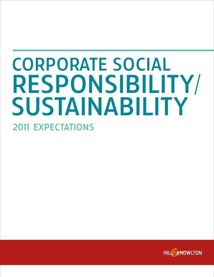 CORPORATE SOCIALRESPONSIBILITY/SUSTAINABILITY201 EXPECTATIONS   1