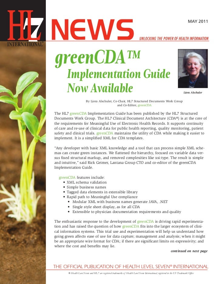 MAY 2011greenCDA™       Implementation Guide       Now Available                                                          ...