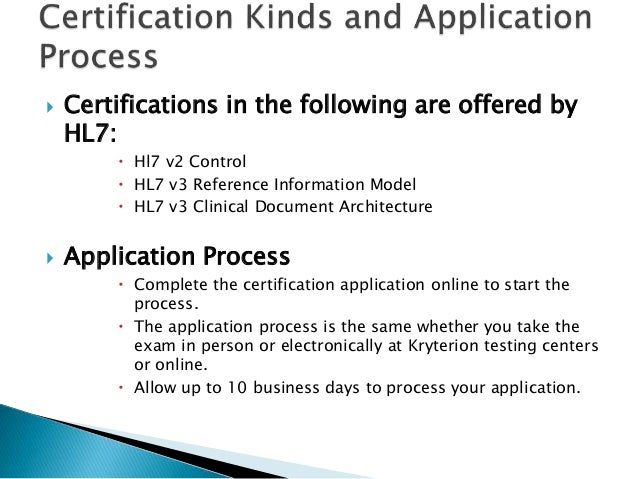 Hl7 v2 certification test preparation