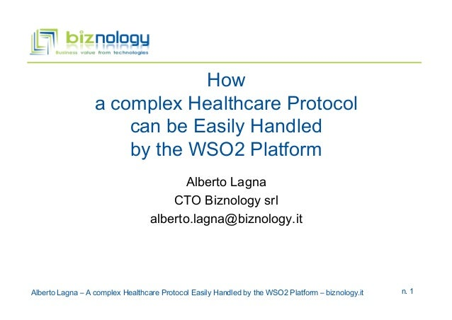 How a complex Healthcare Protocol can be Easily Handled by the WSO2 Platform Alberto Lagna CTO Biznology srl alberto.lagna...