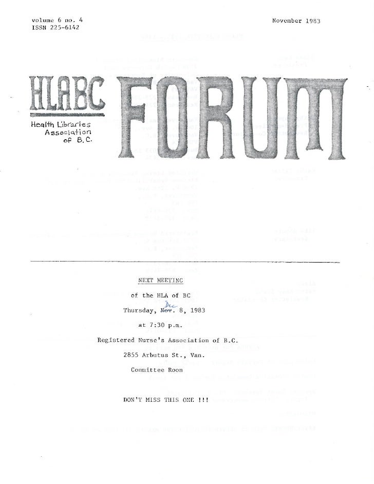 HLABC Forum: November 1983