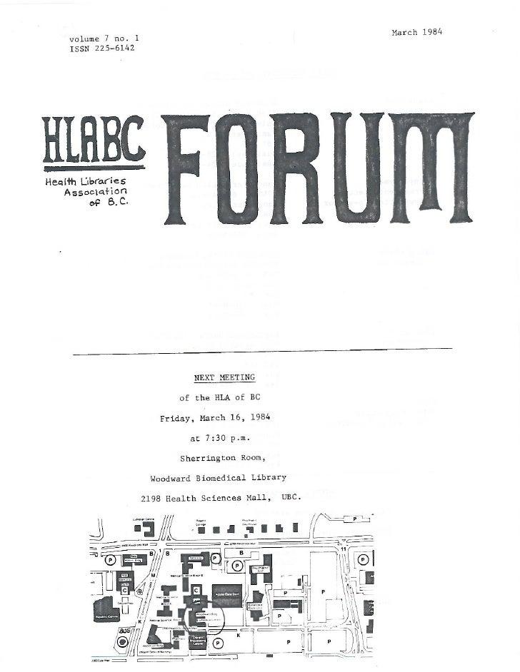 HLABC Forum: March 1984