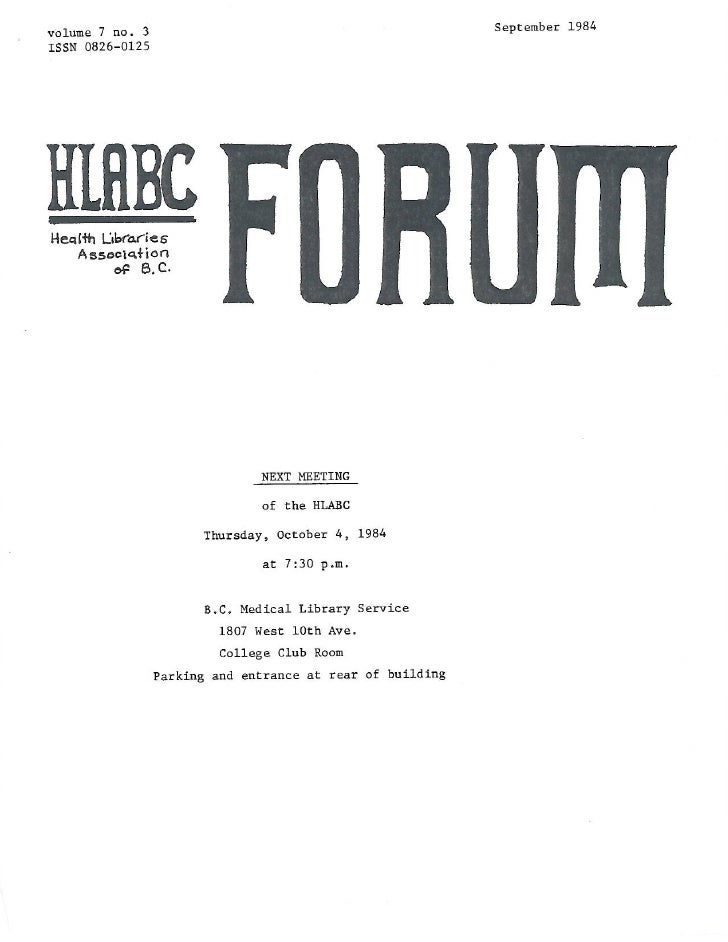 HLABC Forum: September 1984