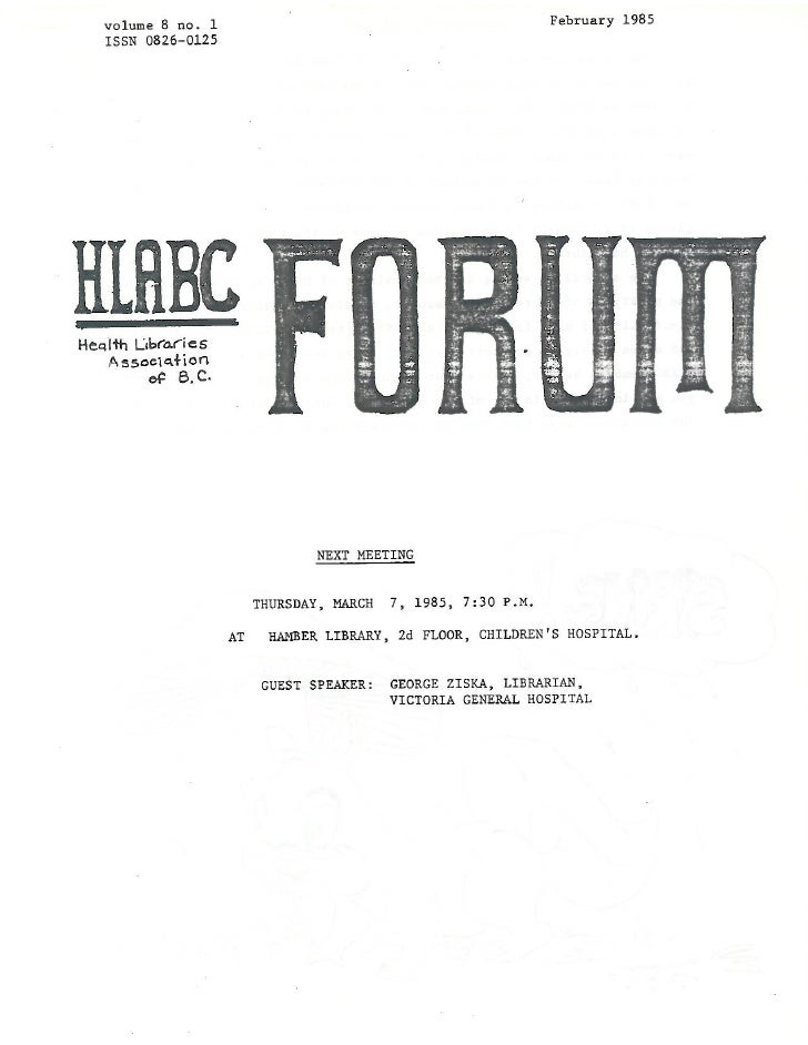 HLABC Forum: February 1985