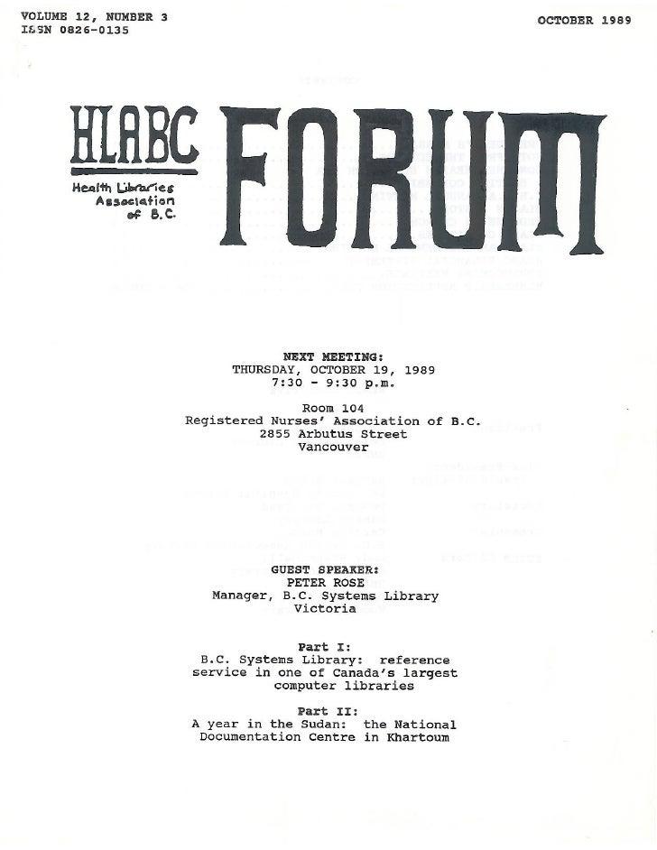 HLABC Forum: October 1989