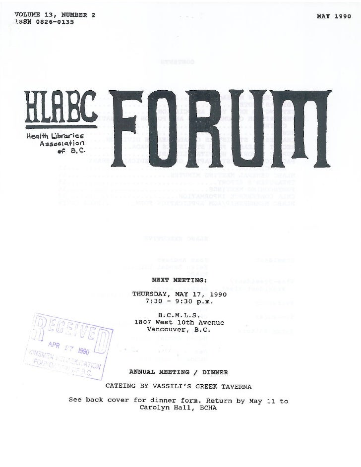 HLABC Forum: May 1990
