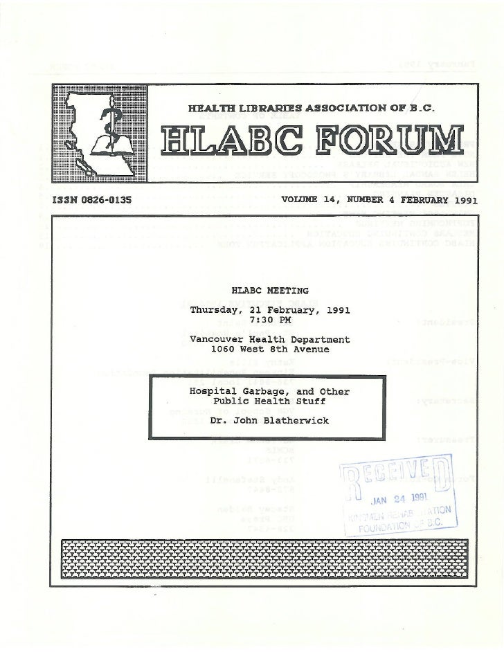 HLABC Forum: February 1991