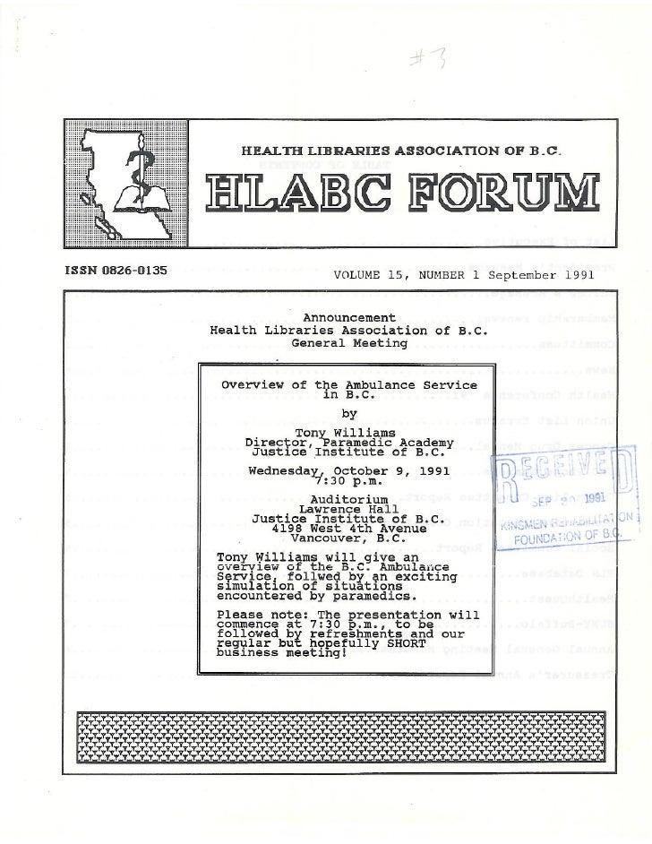 HLABC Forum: September 1991