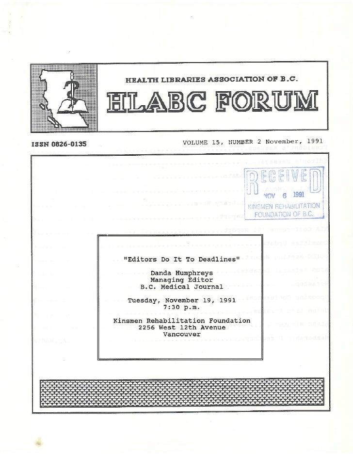 HLABC Forum: November 1991
