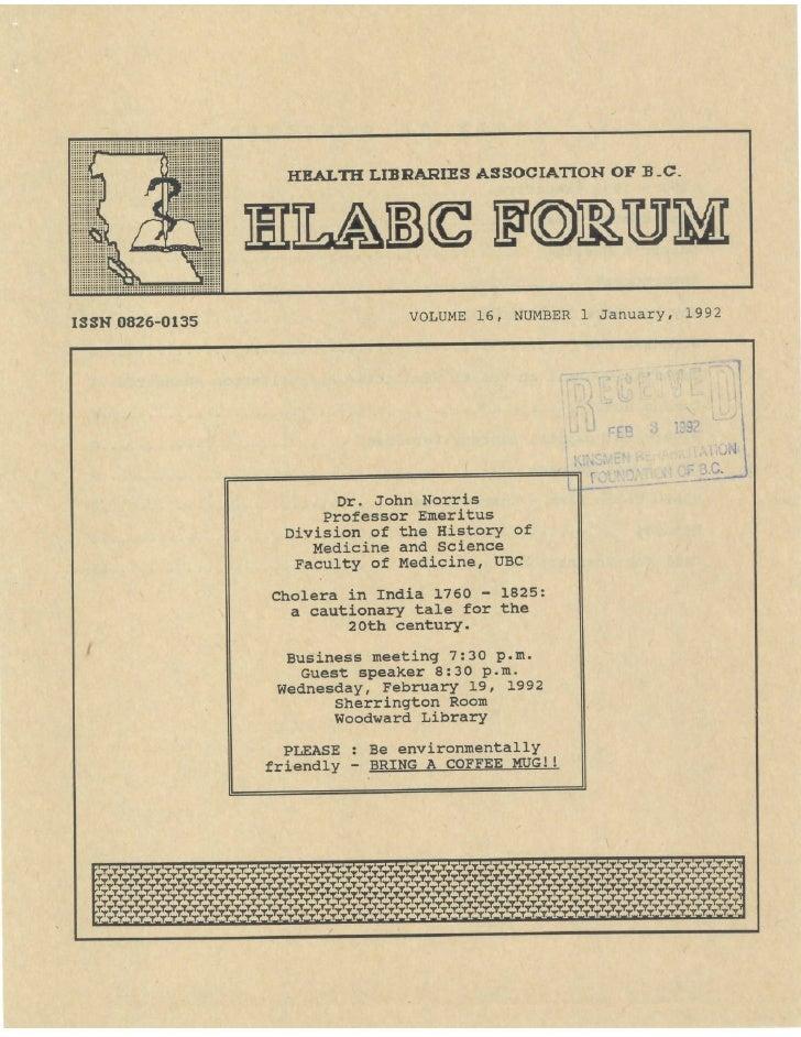 HLABC Forum: January 1992