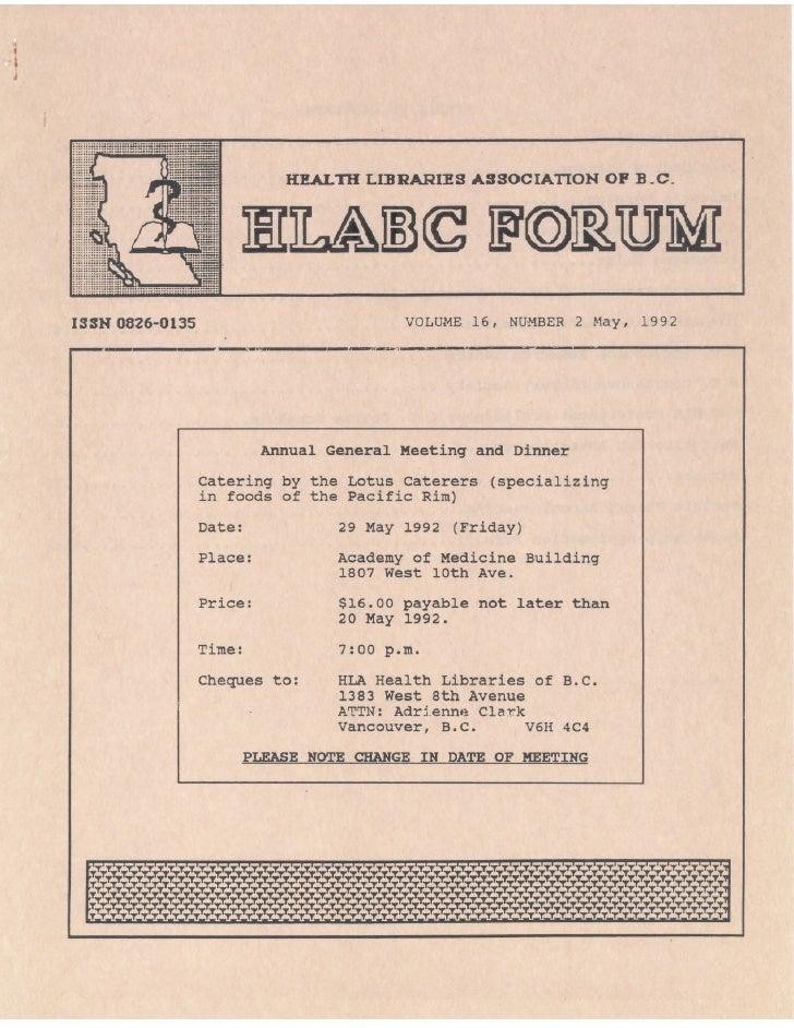 HLABC Forum: May 1992