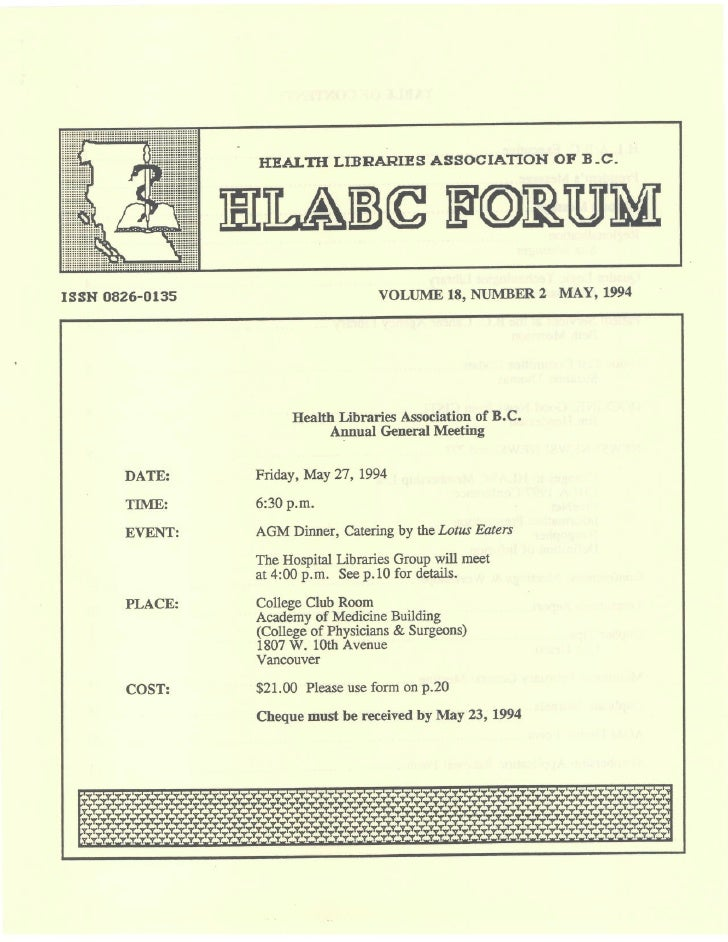 HLABC Forum: May 1994