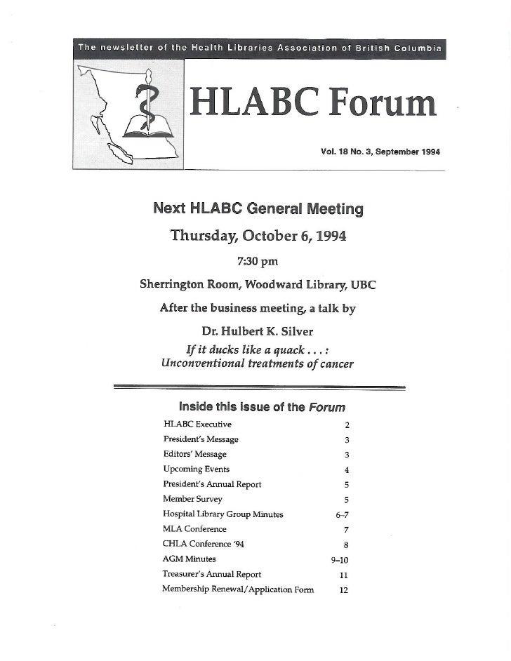 HLABC Forum: September 1994