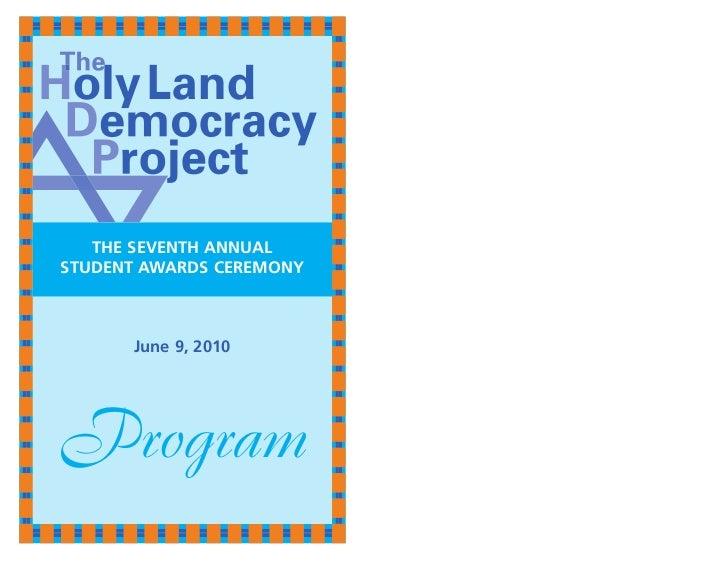 THE SEVENTH ANNUALSTUDENT AWARDS CEREMONY      June 9, 2010Program
