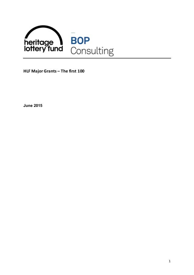 1 HLF Major Grants – The first 100 June 2015