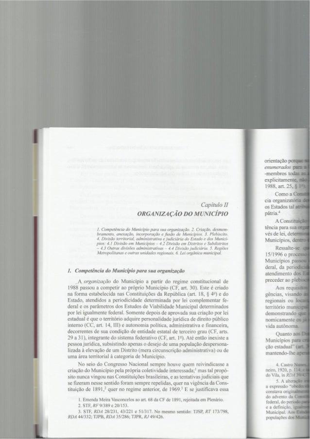 Capítulo II 01a GANIZA ÇÃO D0 MUNICÍPIO  1. Competência do Município para sua organização.  2. Criação,  desmem- bramento,...