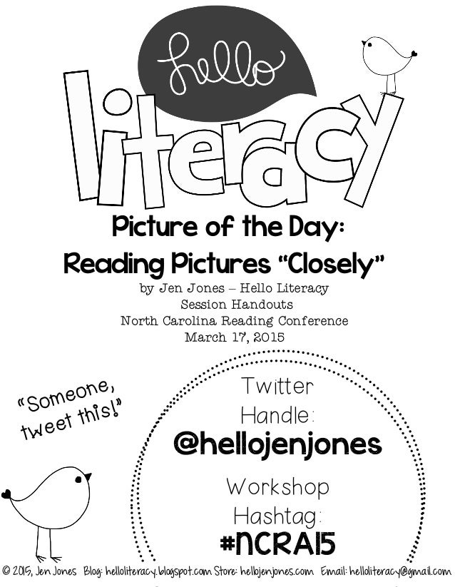 "Picture of the Day: Reading Pictures ""Closely"" by Jen Jones – Hello Literacy Session Handouts North Carolina Reading Confe..."