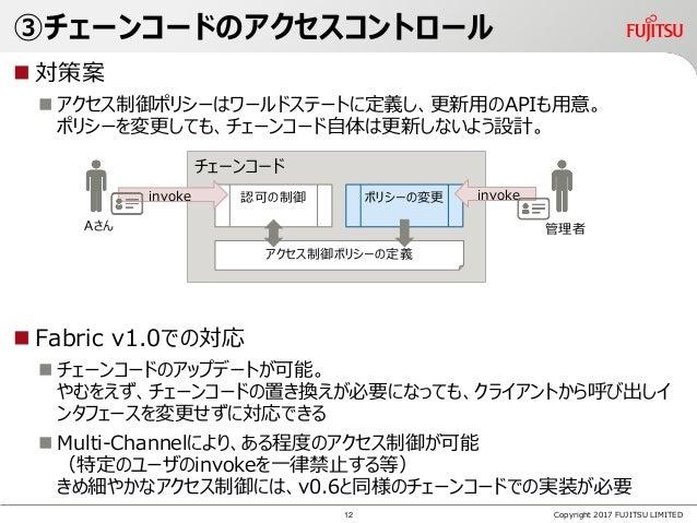 ③チェーンコードのアクセスコントロール  対策案  アクセス制御ポリシーはワールドステートに定義し、更新用のAPIも用意。 ポリシーを変更しても、チェーンコード自体は更新しないよう設計。  Fabric v1.0での対応  チェーンコー...