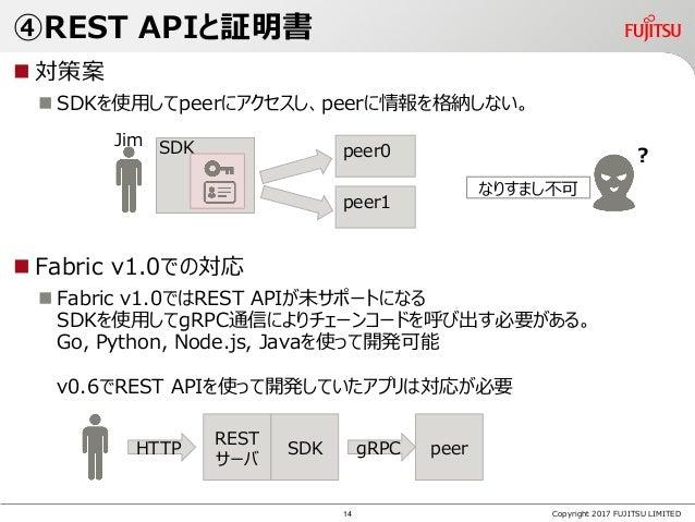 ④REST APIと証明書  対策案  SDKを使用してpeerにアクセスし、peerに情報を格納しない。  Fabric v1.0での対応  Fabric v1.0ではREST APIが未サポートになる SDKを使用してgRPC通信に...
