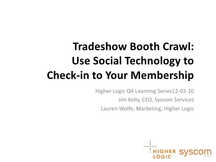 Tradeshow Booth Crawl:Use Social Technology to Check-in to Your Membership<br />Higher Logic Q4 Learning Series12-02-10<br...
