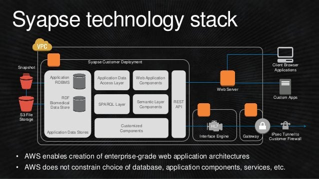 Syapse technology stack Interface Engine Semantic Layer Components Web Application Components Application Data Stores Appl...