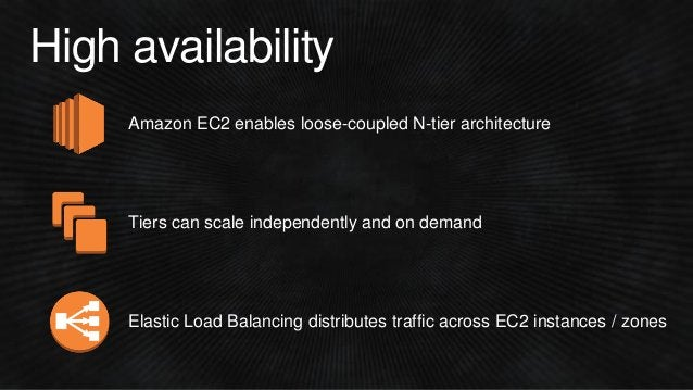 High availability Amazon EC2 enables loose-coupled N-tier architecture Tiers can scale independently and on demand Elastic...