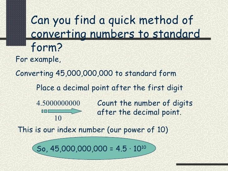 hl standard index form