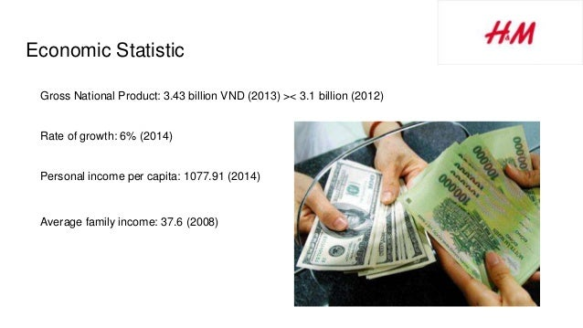 Economic Statistic Gross National Product: 3.43 billion VND (2013) >< 3.1 billion (2012) Rate of growth: 6% (2014) Persona...