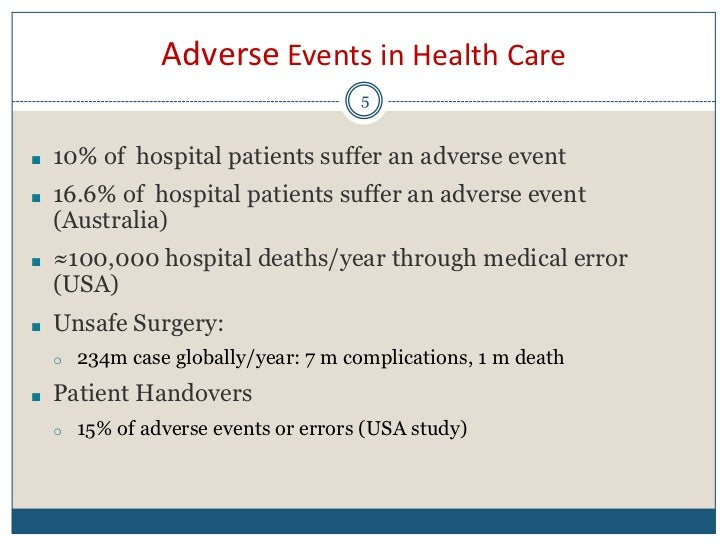 Improving patients safety medical errors and adverse events in health care