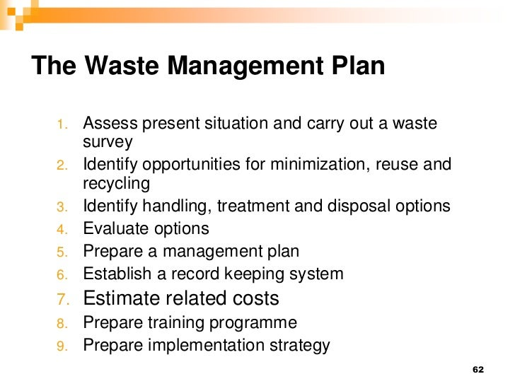 Hm 2012 session vi waste management for Waste management plans template
