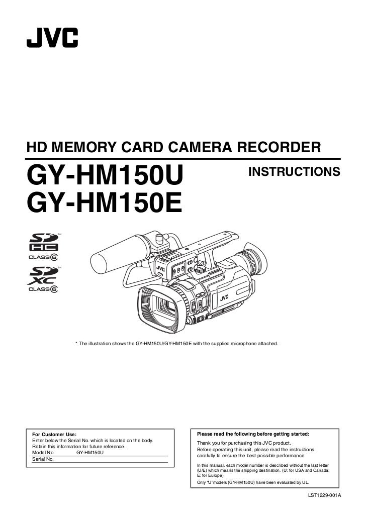 GY-HM150U.book Page 1 Monday, September 5, 2011 1:48 AM     HD MEMORY CARD CAMERA RECORDER     GY-HM150U                  ...