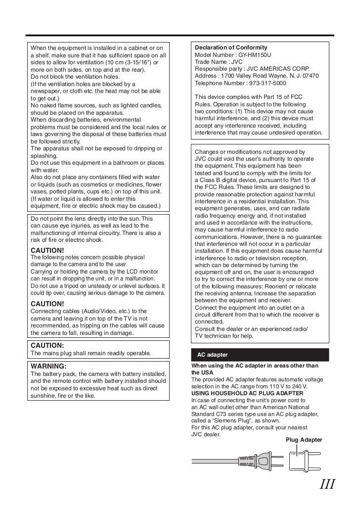JVC GY-HM150E Manual