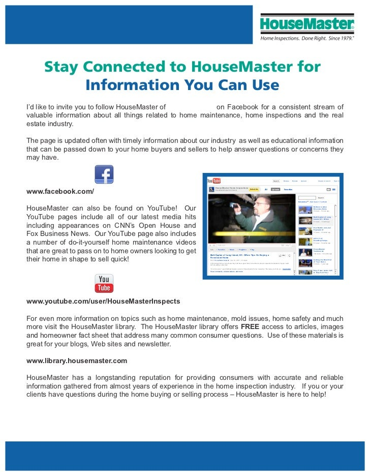 Stay Connected to HouseMaster for          Information You Can UseI'd like to invite you to follow HouseMaster of         ...