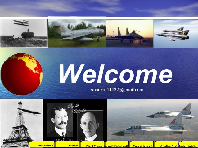 Welcome 2001Aviation FirstType of AircraftAircraft Parts/ cntlFlight TheoryHistoryIntroduction Indian Aviation shankar1112...