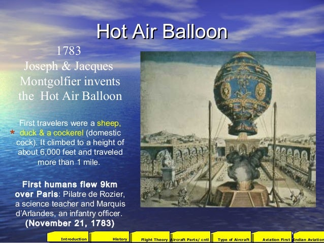 Hot Air BalloonHot Air Balloon 1783 Joseph & Jacques Montgolfier invents the Hot Air Balloon First travelers were a sheep,...
