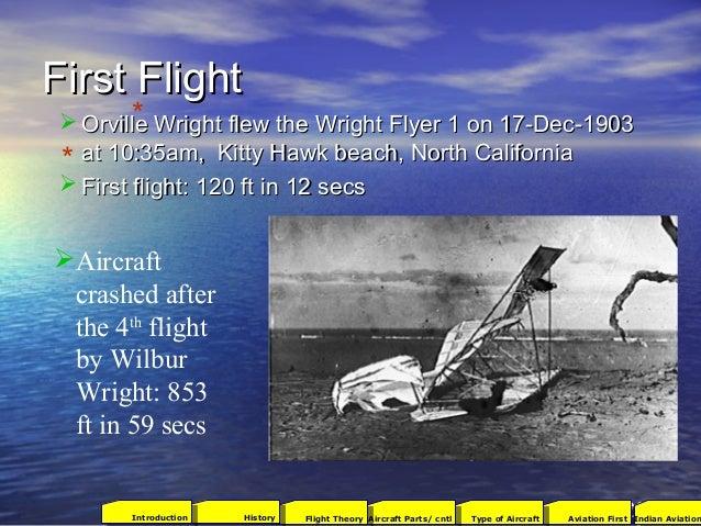 First FlightFirst Flight  Orville Wright flew the Wright Flyer 1 on 17-Dec-1903Orville Wright flew the Wright Flyer 1 on ...