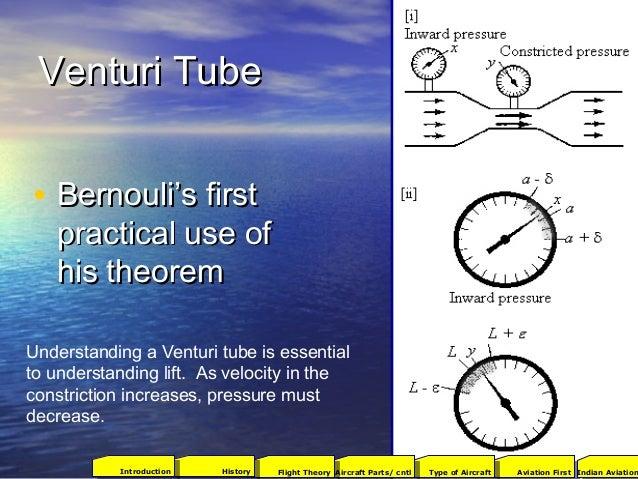 Venturi TubeVenturi Tube • Bernouli's firstBernouli's first practical use ofpractical use of his theoremhis theorem Unders...
