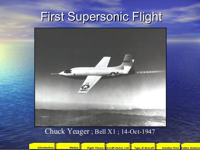 First Supersonic FlightFirst Supersonic Flight Chuck Yeager ; Bell X1 ; 14-Oct-1947 502001Aviation FirstType of AircraftAi...